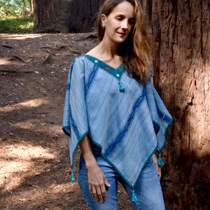 Fish Stripes Ikat Poncho