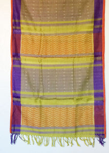 colorful ikat stole with intermittent feathery stripes