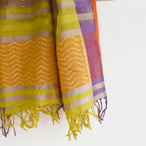 butterefly, stole, ikat, sambalpuri, fresh, cotton, stole, wings, waves, summer, green, hand-loom