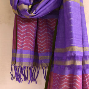 butterefly, stole, ikat, sambalpuri, fresh, cotton, stole, wings, waves, summer, purple, hand-loom