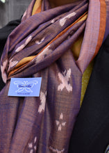Handwoven ikat scarves/stoles/dupattas/ sambalpuri, 100% cotton, eco-friendly, butterfly garden, flowers, handloom, bhulia, weavers, craft, Odisha, textiles, tassles, natural, spring, summer, clothing, sustainable, tea, two-tone,