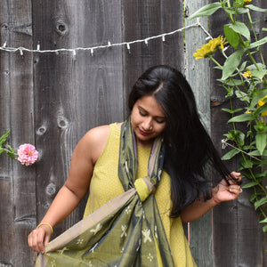 Titlee, olive, blue, ikat, sambalpuri, collection, fresh, stole, cotton, classy
