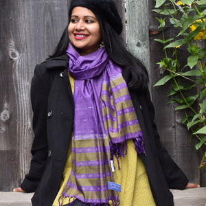 Purple cotton scarf with allover ikat dots and end tassles.