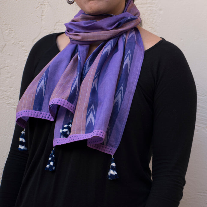 Dual tone  purple-and blush striped narrow Ikat scarf