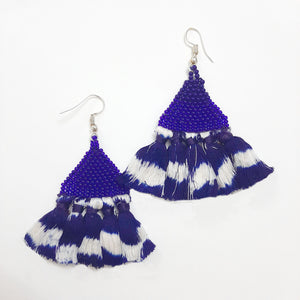 jewellery, blue, accessories, tassel, tie-dye, beads, ikat, earring, handmade, handcrafted, odisha, orrisa, sambalpuri, cotton, threads