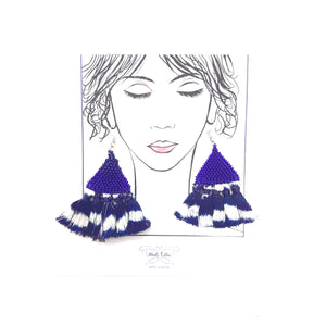 Anaida blue Ikat earrings