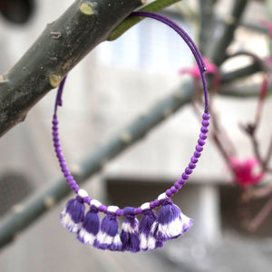 tassel choker purple ikat jewellery handmade giftforher craft odisha fashion accessories valentine earrings chokker yarn jewellery