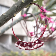 tassel maroon ikat jewellery handmade giftforher craft odisha fashion accessories valentine earrings choker yarn jewellery