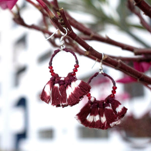 tassel maroon ikat jewellery handmade giftforher craft odisha fashion accessories valentine earrings chokker yarn jewellery