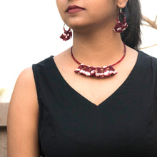 maroon ikat tassel jewellery handmade giftforher craft odisha fashion accessories valentine earrings chokker yarn jewellery