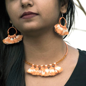 tassel orange ikat jewellery handmade giftforher craft odisha fashion accessories valentine earrings chokker yarn jewellery