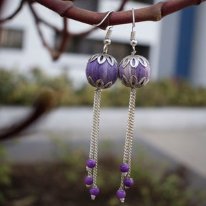 lavender purple bead necklace ikat jewellery fashion accessories odisha crafts handmade giftforher semi-precious earrings