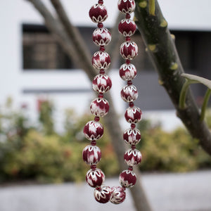 maroon ikat beads jewellery handmade giftforher craft odisha fashion accessories valentine earrings chokker yarn jewellery