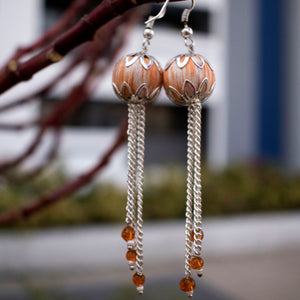 orange ikat jewellery handmade giftforher craft odisha fashion accessories valentine earrings chokker yarn jewellery necklace beads