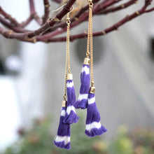 Ikat Tassle earrings-purple