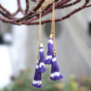 tassel, ikat, chain. earrings, gift, accessories, sambalpuri, odisha, yarn jewelry, cotton, purple, festive,  fashion, trendy, fashion jewelry