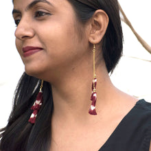 maroon ikat jewellery handmade giftforher craft odisha fashion accessories earrings chokker yarn jewellery