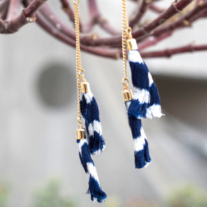 Ikat tassels earrings-Blue
