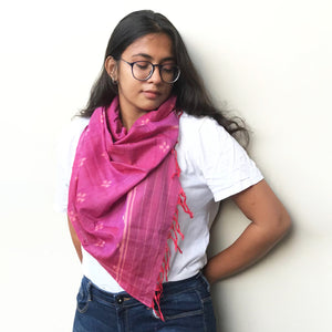 Handwoven two-tone red-purple Sambalpuri cotton ikat scarf with tiny floral butis allover