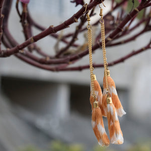 Ikat tassels earrings-Orange