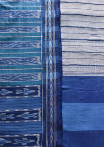 jheel, fish, color, hand loom, embroidery, allover, flow, ivory, grey,blue, check, watter collection, ikat, sambhalpuri, cotton, classy, saree, stripes, comfortable, work wear, cool, fashion, elegant, tassel