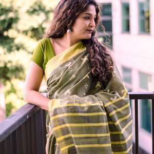 Titlee, olive, ikat, sambalpuri, collection, fresh, sari, cotton, classy, work wear