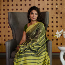 Titlee Olive Ikat saree