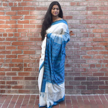 jaal, ivory, blue, fish, check, watter collection, ikat, sambhalpuri, cotton, classy, saree, stripes, comfortable, work wear, cool, fashion, elegant, tassel