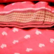 little heart, ikat, sambalpuri, cotton, red, saree, motif, elegant, traditional, weddings, handloom, handcrafted