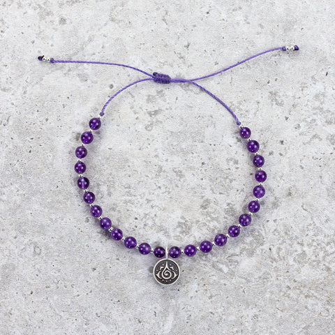 Hand Knotted Amethyst Bracelet - Healing Energy