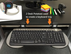 Desktop potato creates desk space