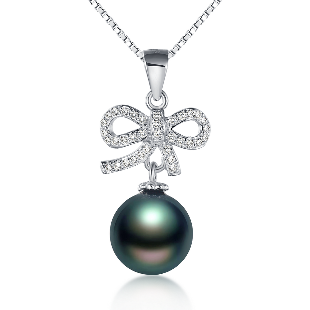 Pearl sterling silver bow pendant necklace in white or black pearl sterling silver bow pendant necklace in white or black aloadofball Images