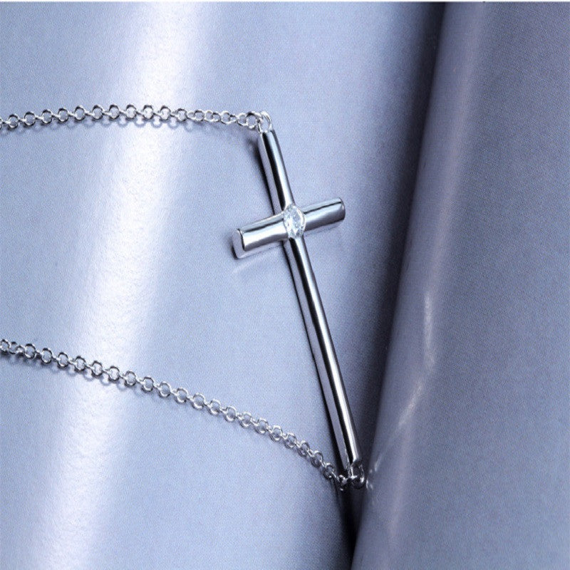 Sideways cross sterling silver pendant necklace splendid jewelers sideways cross sterling silver pendant necklace accented with cz aloadofball Choice Image