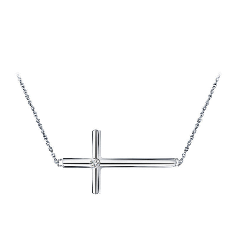 Sideways cross sterling silver pendant necklace splendid jewelers sideways cross sterling silver pendant necklace accented with cz mozeypictures Images
