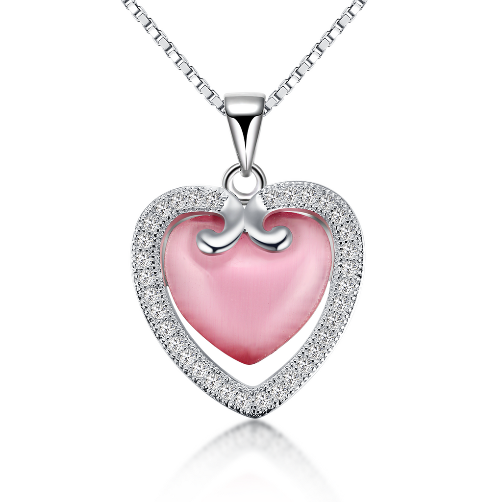 Double heart and cubic zirconia pendant necklace splendid jewelers double heart and cubic zirconia pendant necklace various colors aloadofball Image collections