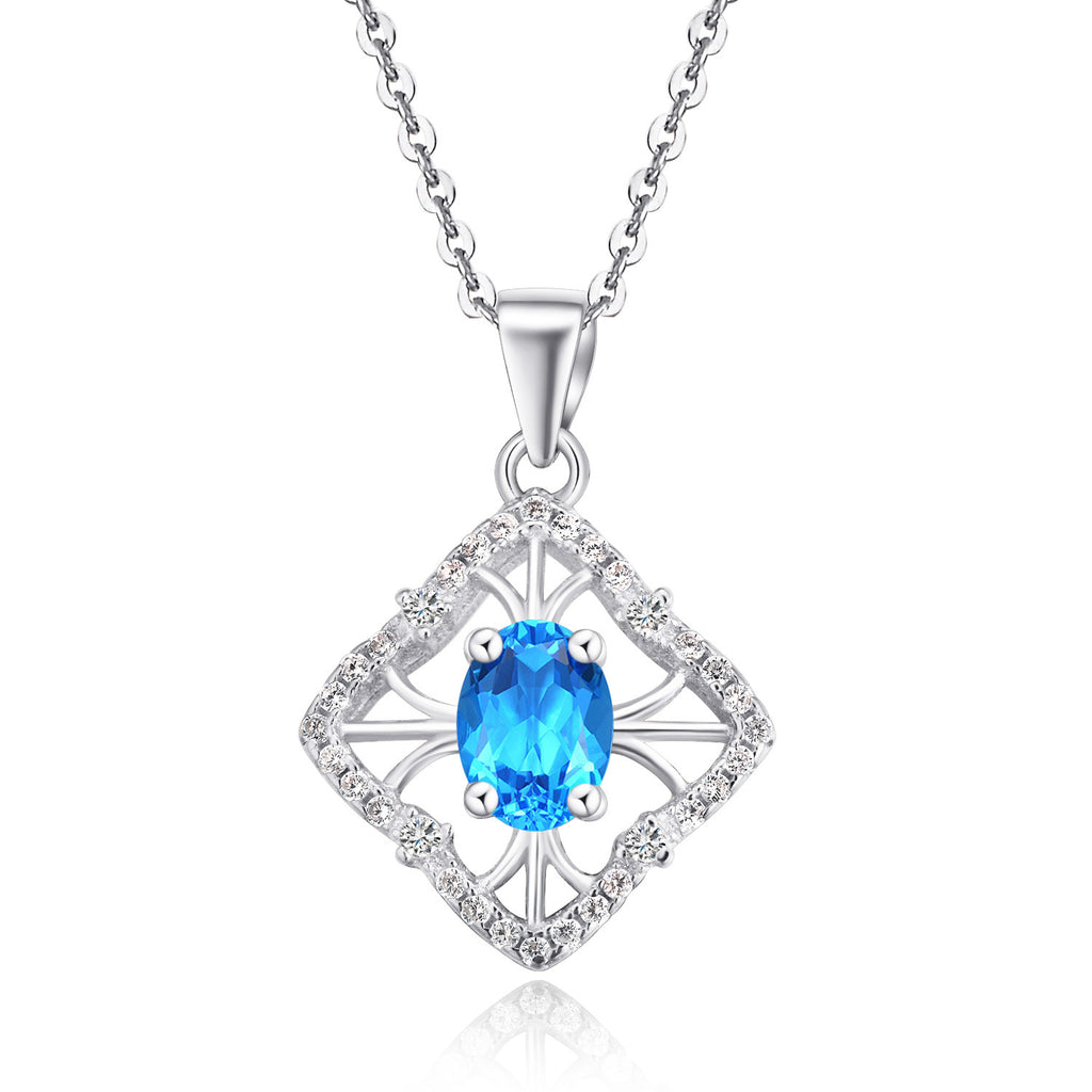 Blue diamond shaped halo pendant necklace splendid jewelers blue diamond shaped halo pendant necklace aloadofball Image collections