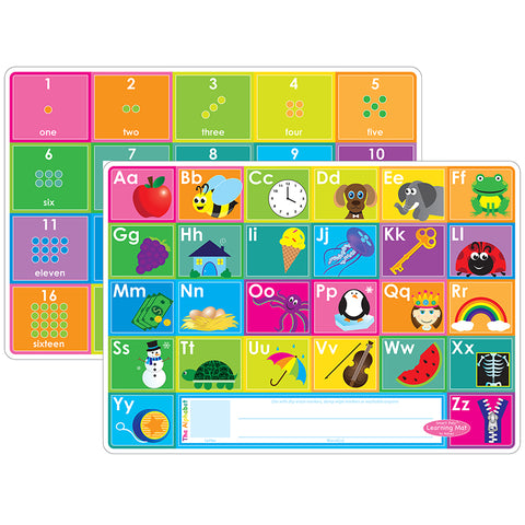 ABC&NUMBERS 1-20 LEARN MAT 2 SIDED
