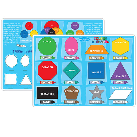 10PK COLORS AND SHAPES LEARNING MAT