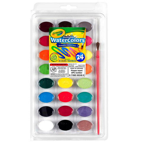 24CT WASHABLE WATERCOLOR PANS WITH