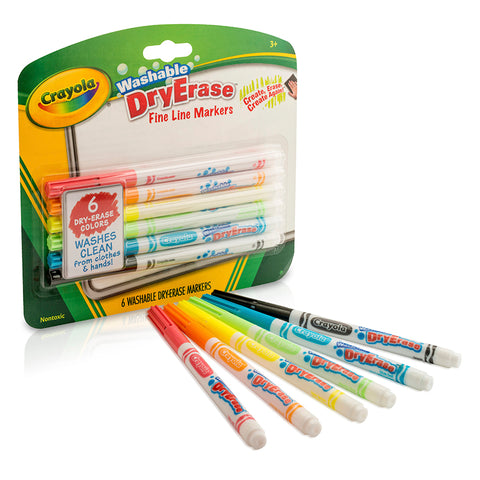 CRAYOLA 6 COLOR WASHABLE DRY ERASE
