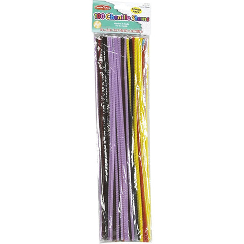 CHENILLE STEMS ASSRTD COLORS 100/PK