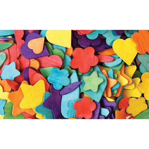 WOOD PARTY SHAPES 200 PCS