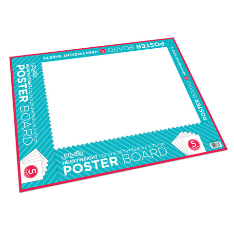 POSTER BOARD WHITE 5 SHTS 12/CT