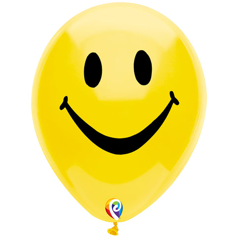 12IN SMILEY FACE BALLOON 2 SIDE 8PK