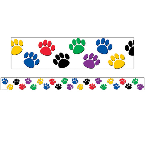 COLORFUL PAW PRINTS STRAIGHT BORDER