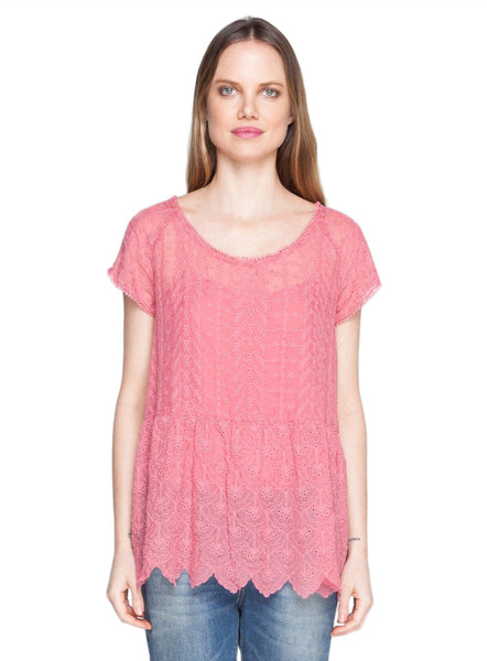4 Love & Liberty By Johnny Was Rose Adelaide Emb Top