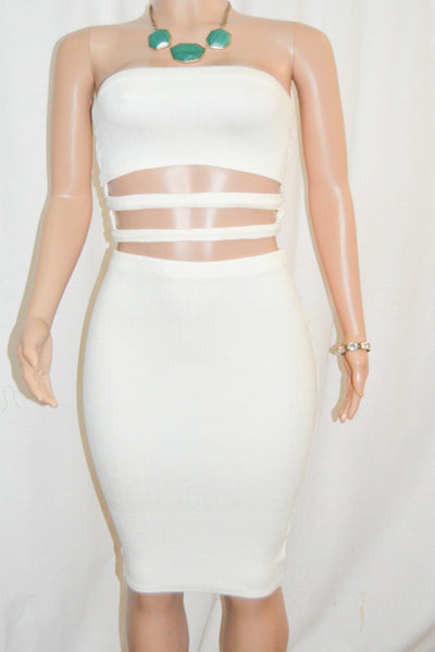 Ivory Crop Tube Top & Pencil Skirt Set