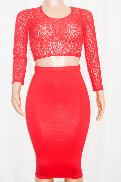 Cute Red Midi Skirt & Lace Crop Top Set