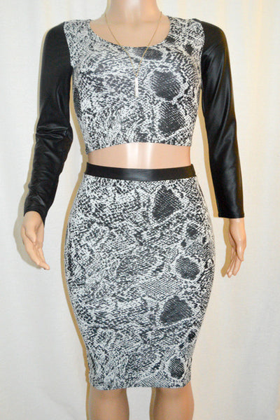 Black & White Faux Leather Trimmed Crop Top & Midi Pencil Skirt Set