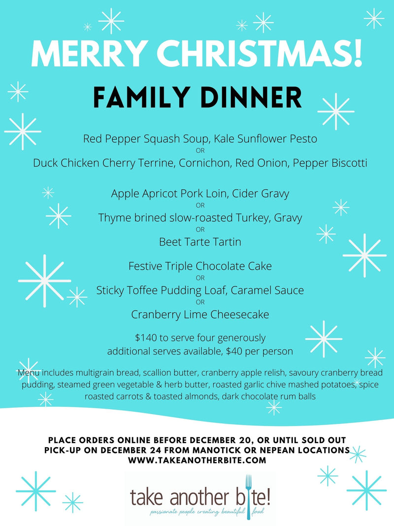 Christmas Dinner Menu - orders accepted until 4pm Dec 20th, or until sold out